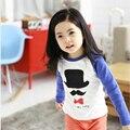 Primavera Otoño Niños Camisetas para Niños Niñas de Algodón de Manga Larga Raglán Sombrero Bigote Corbata ropa de Niños Ropa QD0006