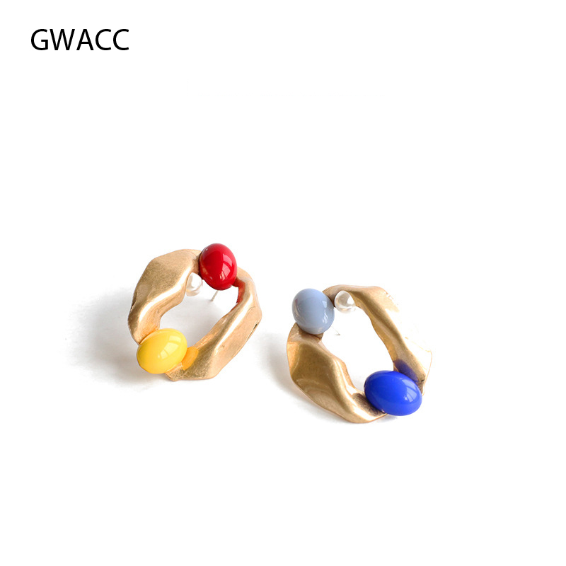 GWACC 2019 Fun Candy Resin Earring Contrast Color Asymmetric Stud Earrings Original Vintage Design Exaggeration Women 39 s Earrings in Stud Earrings from Jewelry amp Accessories