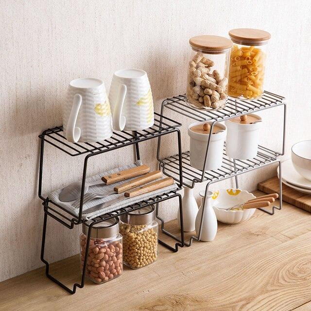 Penyimpanan Rak Dapur Bu Besi Jahitan Dapat Ditumpuk Di Atas Meja Tikar Mandi