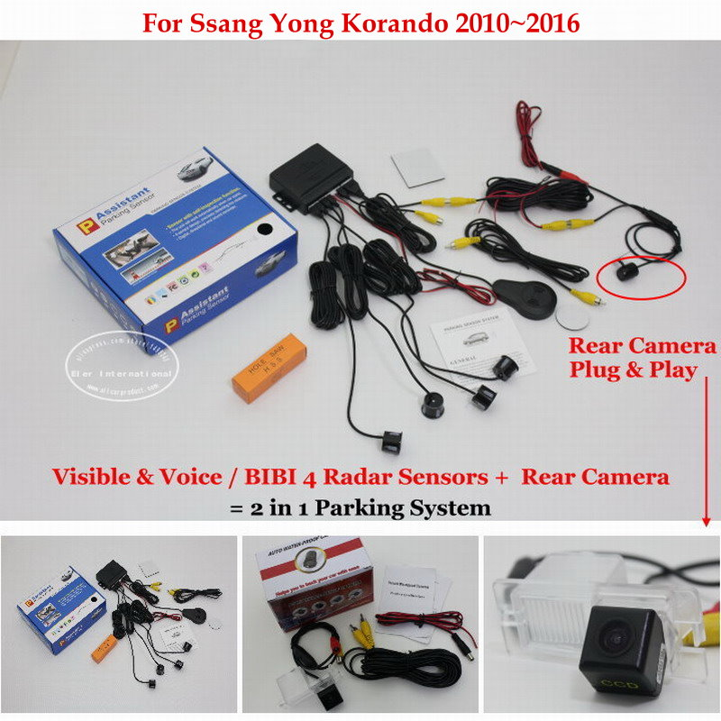 ФОТО For Ssang Yong Korando 2010~2016 - Car Parking Sensors + Rear View Back Up Camera = 2 in 1 Visual / BIBI Alarm Parking System