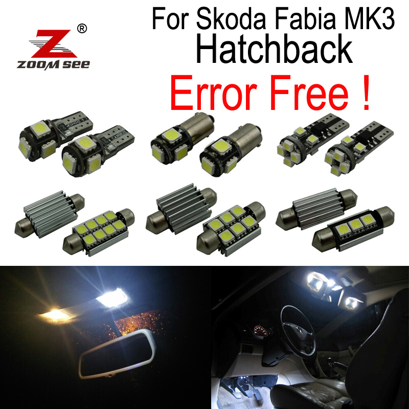 ZOOMSEEZ 11pcs license plate lamp LED bulb Interior dome Light Kit for Skoda Fabia 3 MK3 MK III Hatchback (2015+) 15pcs led bulb interior dome light kit for mercedes c class s205 estate wagon c160 c180 c200 c220 c250 c300 c350 c400 c450 2015