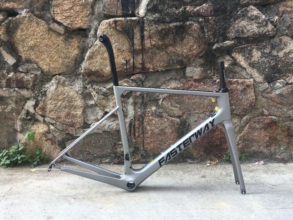 2018 taiwan marca FASTERWAY classic sliver grigio con il nero super leggero telaio della bici del carbonio: frame + seatpost + fork + clamp + headset