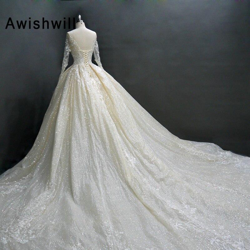 Luxury Muslim Arabic Ball Gown Wedding Dress Long Sleeve Beaded Lace