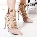 2016 новое стиль на шнурках вырезы острым носом высокие каблуки лето сексуальные черные женщины ремешками гладиатор обувь ким кардашян обувь
