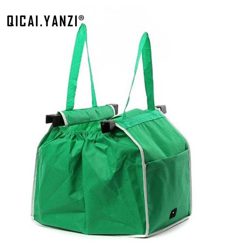 QICAI YANZI Large Clip To Cart Portable Bag 2017 Ladies Eco Reusable Shopping Bags Soft Foldable