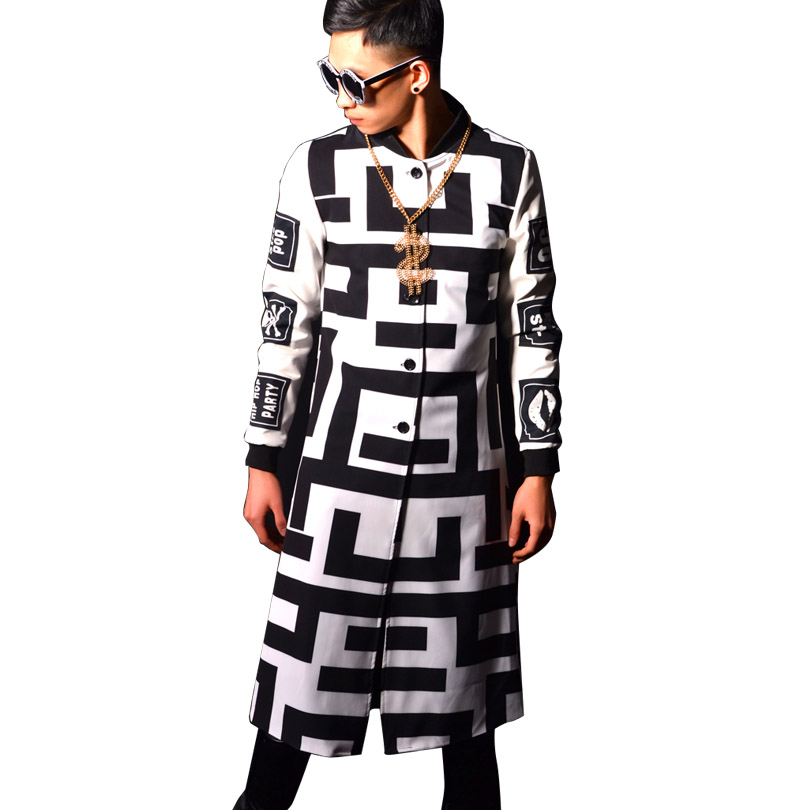 Male Long Slim Fit   Trench   Jacket Pattern Printing Fashion Hip Hop Casual   Trench   Coat Men Super Star Stage Costumes