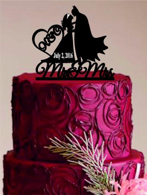Acrylic Batman And Wonder Woman Custom Name Birthday Cake Toppers Wedding Bridal Baby Shower Bachelor Party