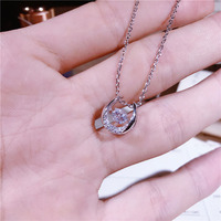 2018 natural minimalist S925 sterling silver U shaped letter necklace personality horseshoe clavicle chain summer women's jewelr