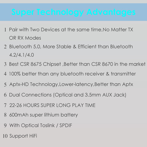 Image 5 - Crdc 블루투스 5.0 오디오 송신기 수신기 csr8675 aptx hd 어댑터 광학 toslink/3.5mm aux/spdif 차량용 tv 헤드폰 등