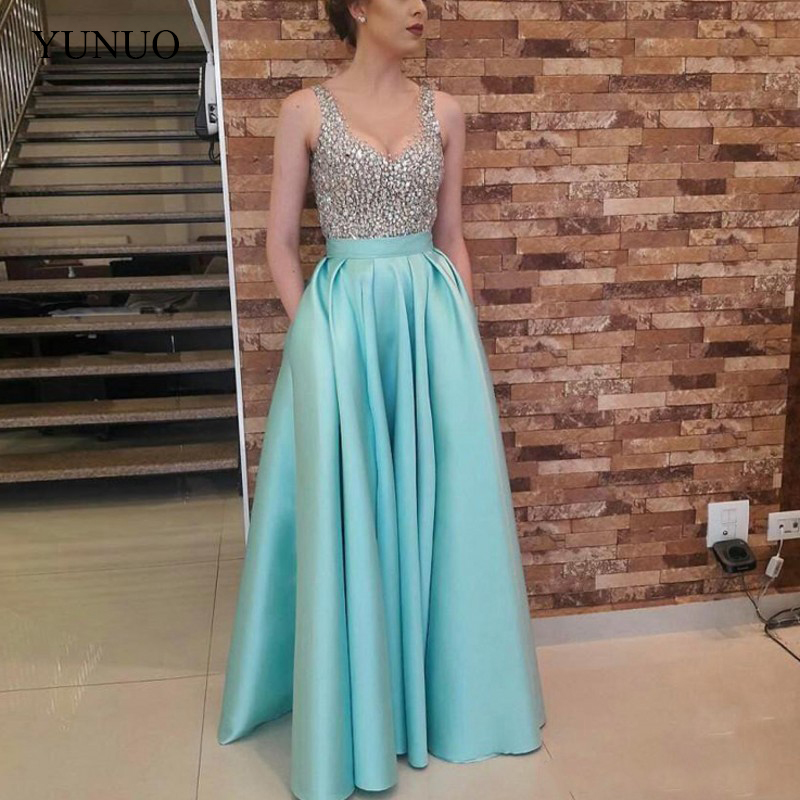 Long Party   Prom   Gowns vestido formatura A line Beaded   Prom     Dresses   with Pockets