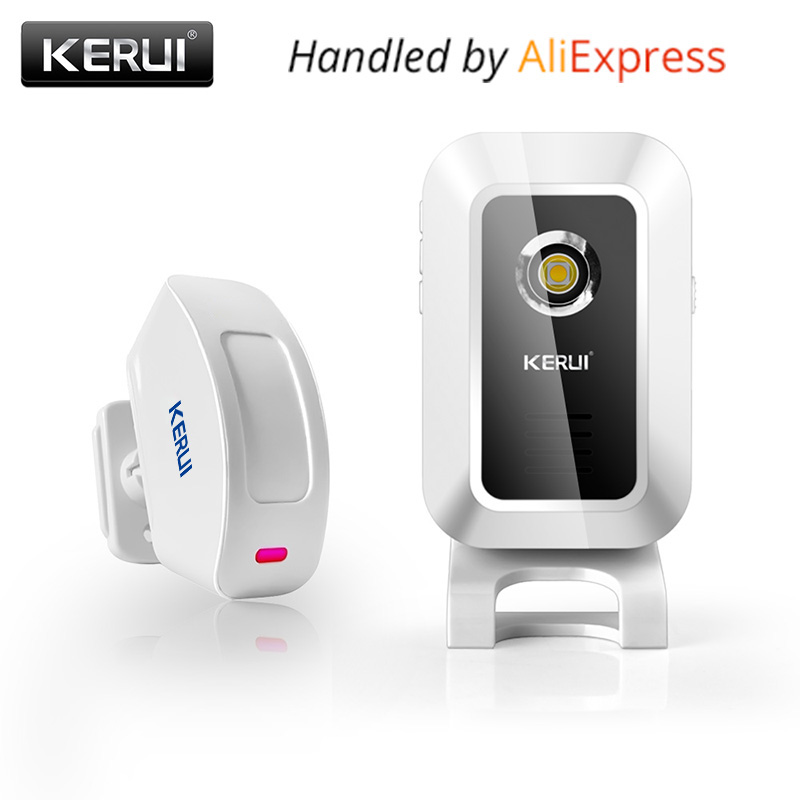 Original Kerui M7 Door Bell Welcome Chime Wireless Motion Sensor Alarm system For Store Shop bar doorbell welcome alarm wireless service call bell system popular in restaurant ce passed 433 92mhz full equipment watch pager 1 watch 7 call button