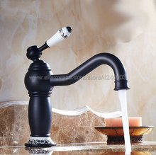 Oil Rubbed Bronze Ceramic Single Handle Bathroom Sink Vessel Faucet Basin Mixer Tap Swivel Spout Knf508 modern waterfall spout oil rubbed bronze bathroom sink faucet mixer tap square handles basin faucet