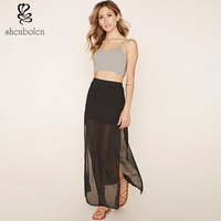 2016 summer women fashion sexy transparent chiffon long side slit skirt black casual beach saias elegant