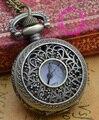 Оптовая цена покупатель хорошее качество девушка дамы бронзовый ретро старинные цветок рисунок карманные часы ожерелье час