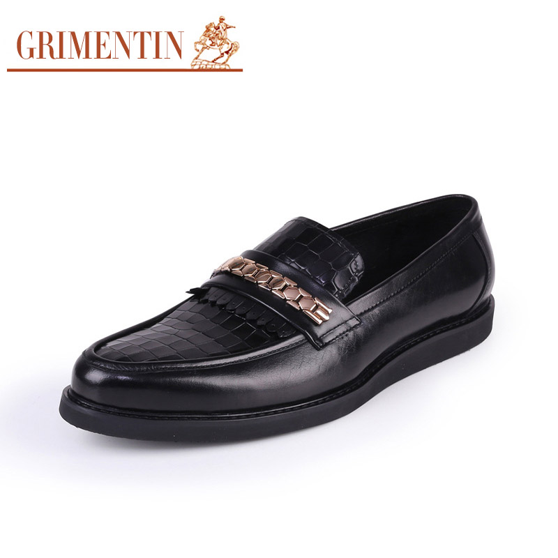 GRIMENTIN top quality Italian fashion mens loafers shoes leather black slip on wedding casual male designer shoes for men flats