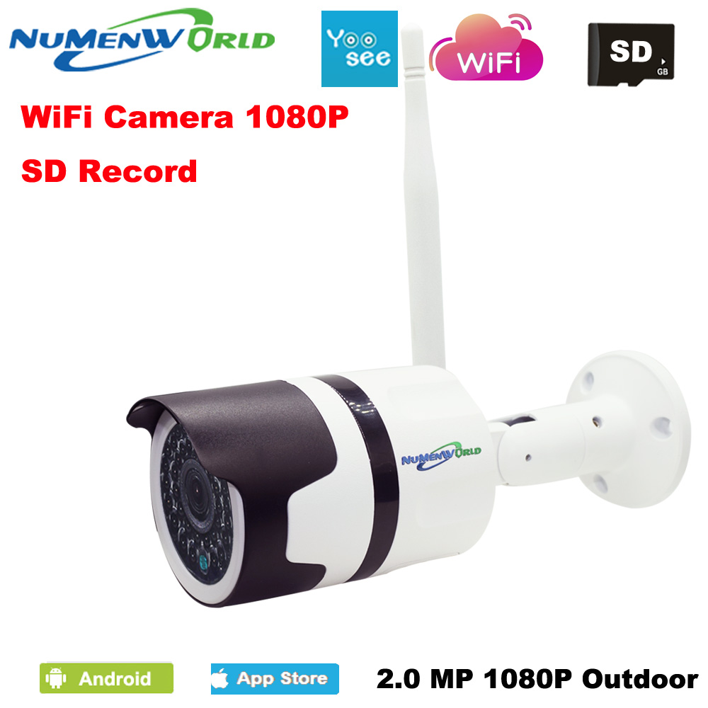 Waterproof IP Camera Outdoor HD 1080P Night Vision ONVIF Motion Detection Email Alert Remote View Smart Phone support SD memory cctv ip camera wifi 960p hd 3 6mm lens video surveillance email alert onvif p2p waterproof outdoor motion detect alarm ir cut