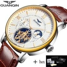 Relogio Masculino GUANQIN Tourbillon Мужские часы Лучшие бренды Роскошные золотые мужские часы Автоматические механические кожаные наручные часы 2017