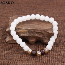 Hot Sale Natural Freshwater White stone Bracelets&Bangles Women garnet Beads Jewelry Gift with Elastic bracelet A35