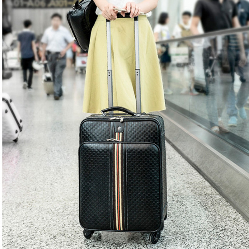 Rolling Luggage,Women Bag with wheel,PU Leather Commercial Suitcase,Men Soft Shell Travel Box with Password Lock vintage suitcase 20 26 pu leather travel suitcase scratch resistant rolling luggage bags suitcase with tsa lock