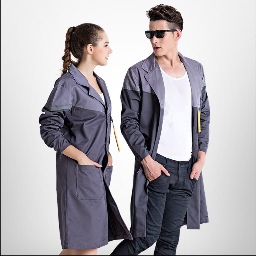 S -3XL Autumn And Winter Long-sleeved Men And Women Stitching Food Factory Coat Long Robes Workshop Work Wear Uniform Clothing