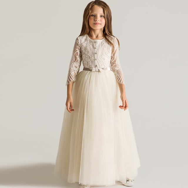 2e1fced097 Ivory Lace Princess Flower Girl Dresses Long Sleeve Ball Gown Long kids evening  gowns Girls First Communion Dresses for weddings