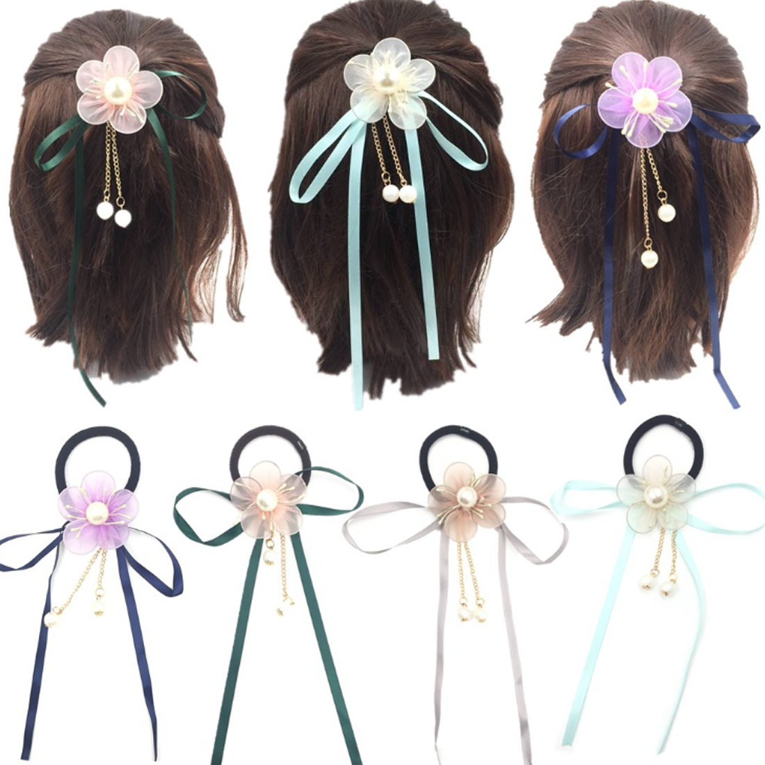 Men's Accessories Children Girl Women Ponytail Holder Band Floral Elastic Rubber Band Hair Ties Elegant And Sturdy Package