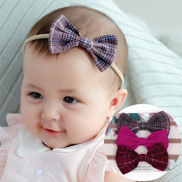 Baby Girls Headband Multi Colors Bow Knot Head Bandage Kids Toddlers Headwear Hair Band Infant Clothing Accessories 3pcs set 2