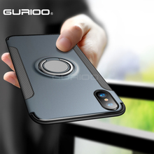 GURIOO Luxury Shockproof Case For Apple iphone X 10 Case Metal Ring Holder Armor Phone Cover For iphone X 10 Case(China)