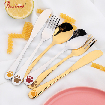 Kids Cutlery Set 18/10(304) Stainless Steel Cartoon Lovely Knife Fork Sets 1lot/4 piece Children Panda Flat ware Tableware Set