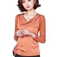 2017 Plus Size Blouses Women Autumn Long Sleeve Button Elegant Silk Blouse Tops Shirt Patchwork Mesh
