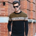2016 New men's Casual Sweater Fashion Jacquard 100% Wool Round Neck Plus Size Thick Business Casual Sweater For Men CB12E6629