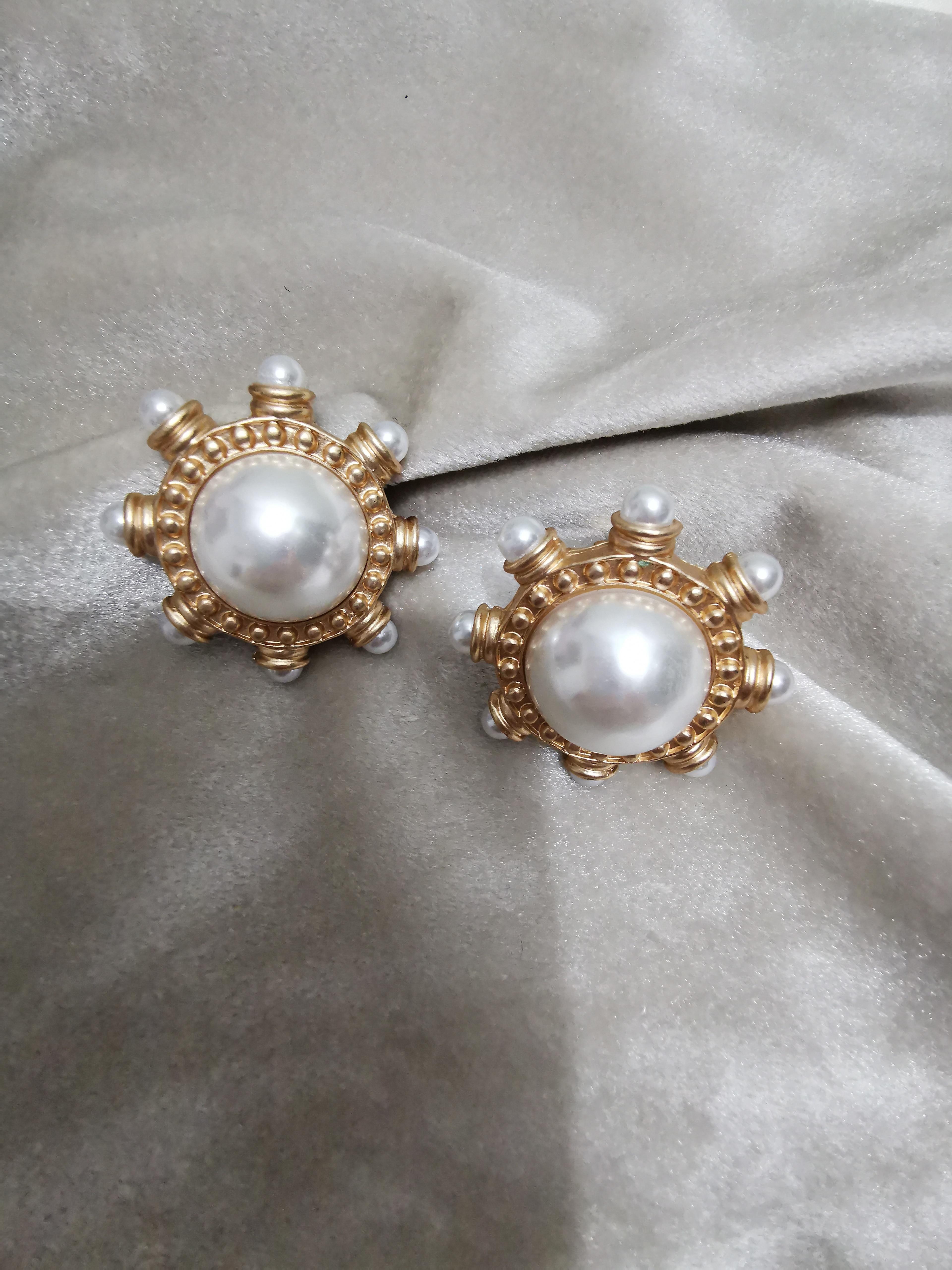 Trendy Retro Faux Pearl Geo Statement Gold Earrings Jewelry Women Punk Art Deco Party Designer korean style oorbellen Japan in Stud Earrings from Jewelry Accessories