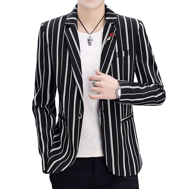 acaaf4ea9 Chaqueta de traje de moda delgada de rayas blancas y negras de primavera  para hombre/2019 nuevas ...