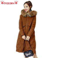 Winter Women feather Cotton Jacket New Solid color Mid long overcoat Upscale Hoodie Fur coat Thick Warm female outerwear ll843