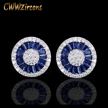 CWWZircons Noble Romantic Dark Blue Crystal Jewelry Luxury Round Cubic Zircon Wedding Stud Earrings For Women