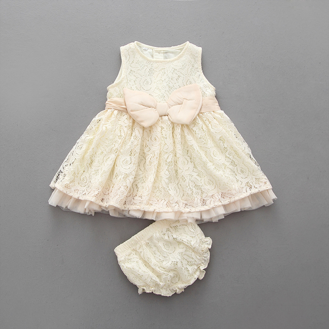 European Girls Boutique Clothing Sets Girl Lace Dresses + Shorts Beige Girls Clothes Suits 0-3Y Childrens Clothing Set