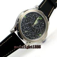 44mm Parnis sapphire glass black constellation luminous 17 jewels mechanical 6498 hand winding movement men's watch