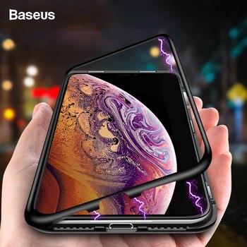 Baseus Adsorção Magnética Caso de Telefone Para o iphone XS Max Xr Xsmax Coque Ímã De Luxo Vidro Temperado Tampa Traseira Para o iphone coque