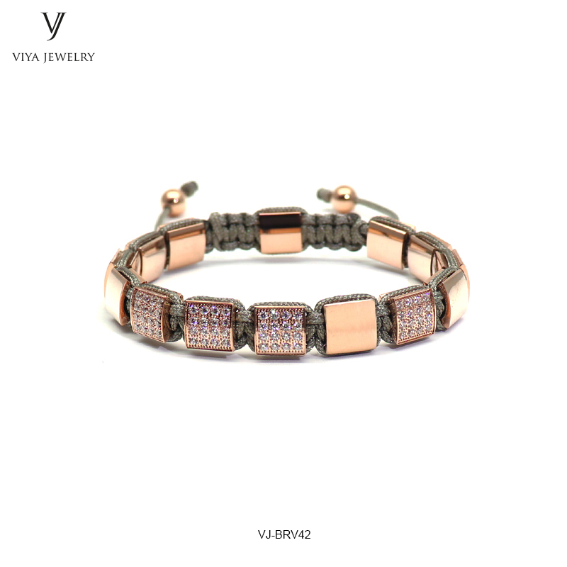 New Square Beads Braided Macrame Bracelet Charming Rose Gold Color Pave Setting Beads Men Bracelet For Men With Jewelry Gift Box 2016 new waterproof black beads macrame bracelets for men women high end cz beads braided bracelet for watch boho men jewelry
