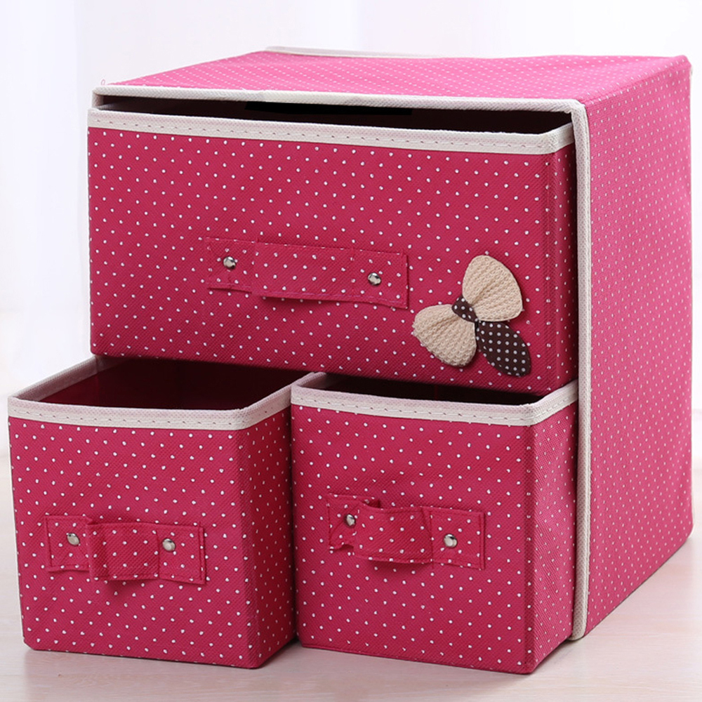 2018 3 in 1 Desk Storage Box Cute Vivid Dots Pattern Multi Functional Large Capacity Box For Home Office Organize Case Storage