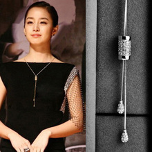 New Fashion Micro Pave Zircon Sweater Chain Necklace Silver Plated Charming Long Necklace for Women Best Gift Bijuterias 2016