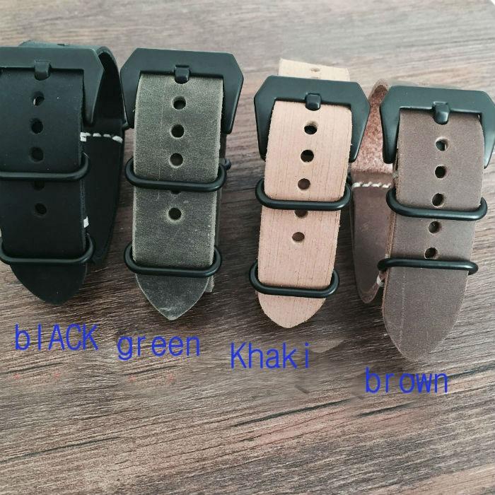 цена  20 22 24 26mm Handmade Crazy Horse Leather Watchband, NATO Mens Rough Leather Watch Strap,Free Shiping  онлайн в 2017 году
