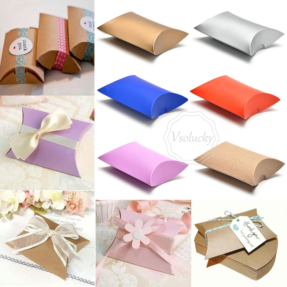 Pillow Wedding Party Favor Paper DIY Gift Box Candy Boxes Supply ...