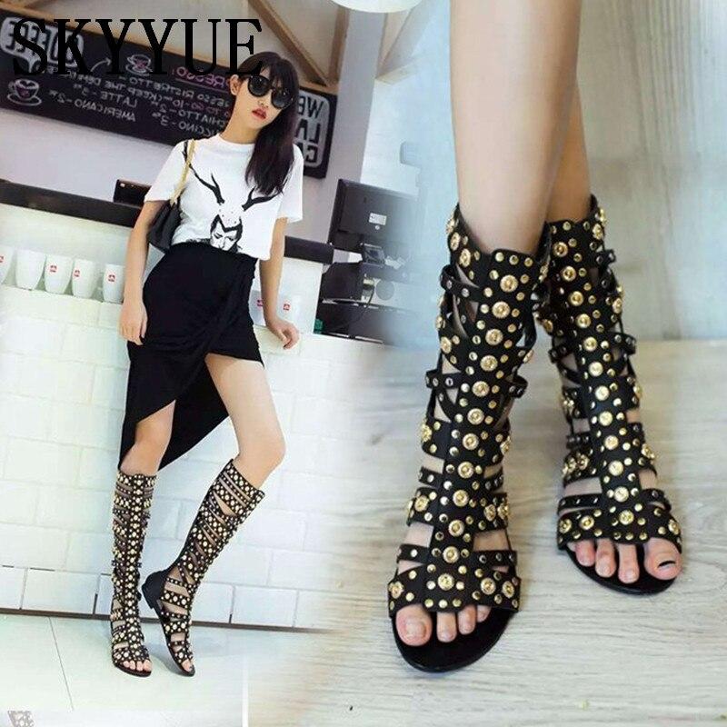 Здесь продается  2018 New Black Genuine Leather Metal Sequined Summer Sandals Gladiator Keen HIgh/Ankle Sandal Boots Shoes Women  Обувь