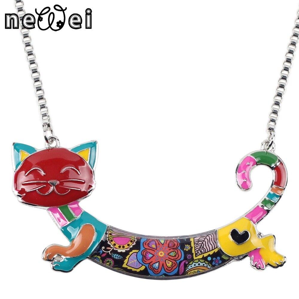 Newei Statement Maxi Alloy Enamel Cat Choker Necklace Chain s