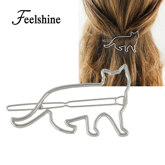 Feelshine Minimalist Hair Jewelry Gold Silver Color With Hollow Out Cat Shape Hairgrips Hairwear For Women Accessories