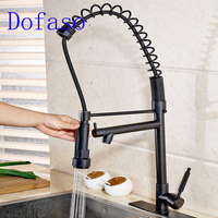 Dofaso Oil Black Big Spring Kitchen Faucet Deck Mounted Pull Down Kitchen Tap Mixer Cold And