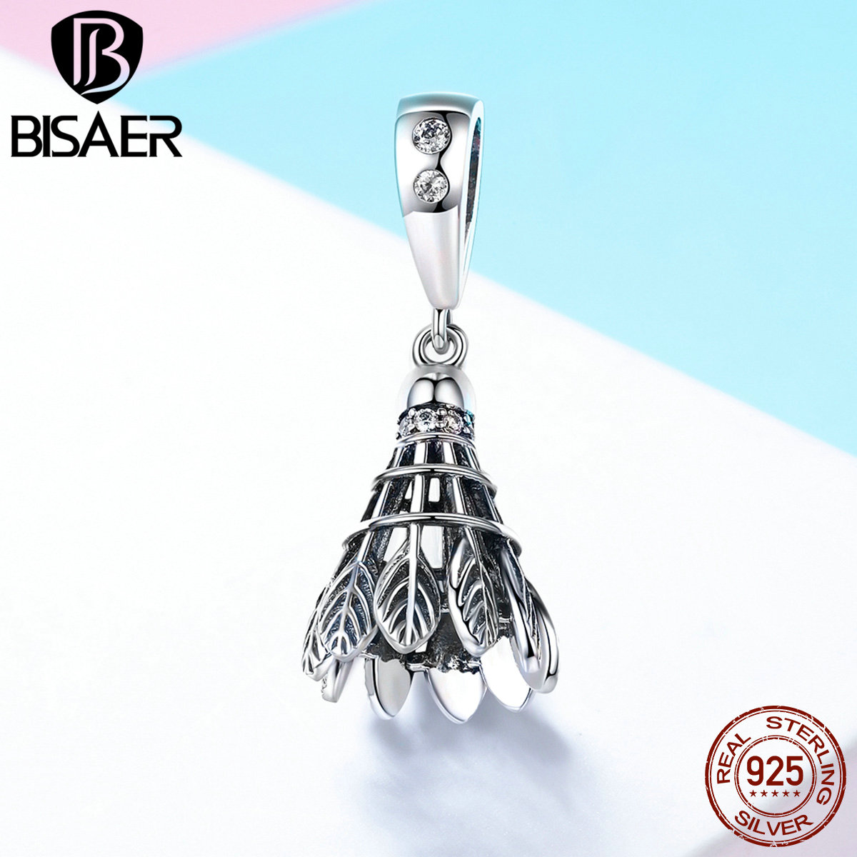 Charm 925 Sterling Silver Retro Sport Lover Badminton Pendant Charm for Women Bead Bracelet or Necklace Jewelry Making GXC807