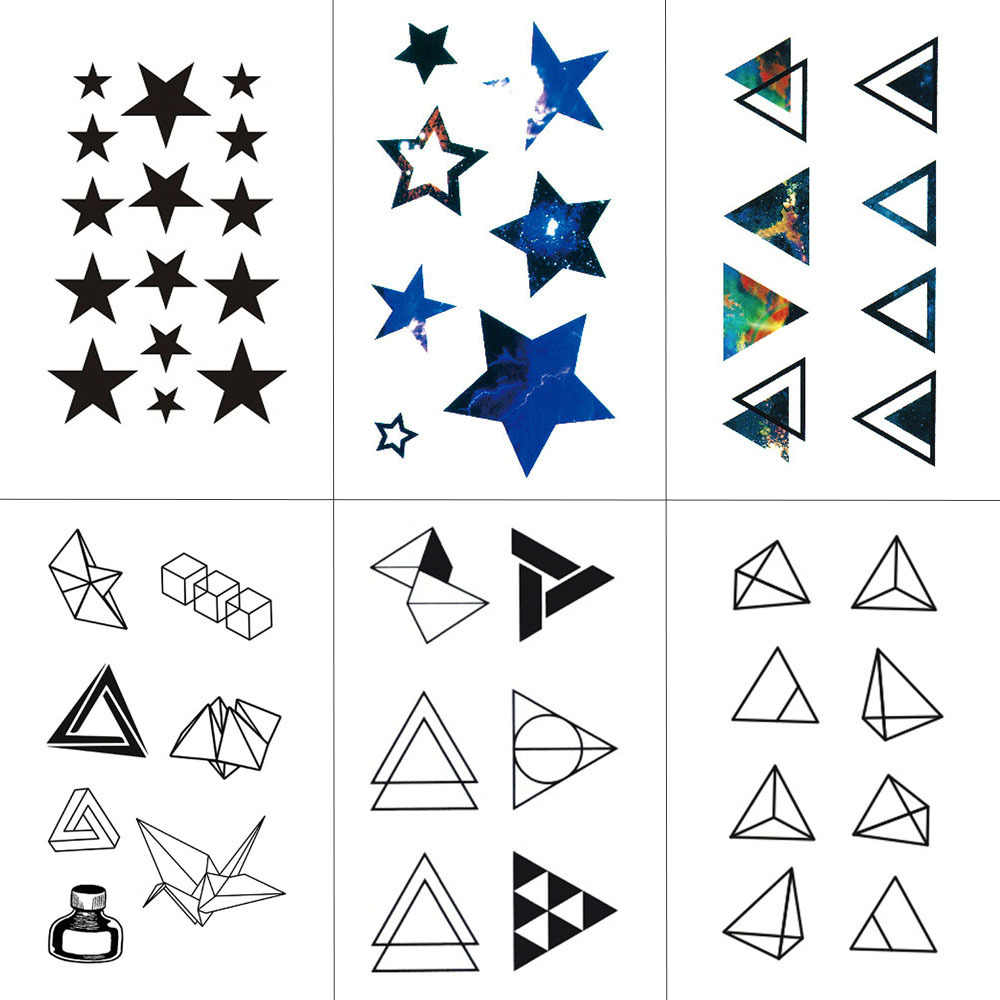 WYUEN Triangle Geometry Temporary Fake Tattoo Body Art Sticker Waterproof Face Tattoo Sticker for women Children 10.5X6cm G-017