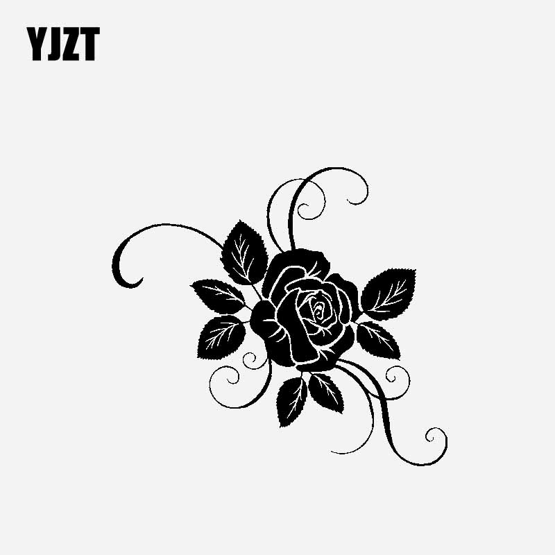 YJZT 16.2CM*14.4CM Originality Car Sticker Vinyl Decal Rose Gorgeous Ornamentation Black/Silver C23-0438